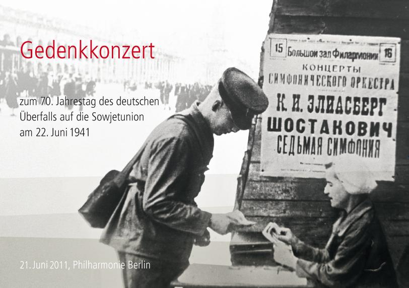 Berliner Philharmonie: Gedenkkonzert zum 70. Jahrestag des Überfalls auf die Sowjetunion