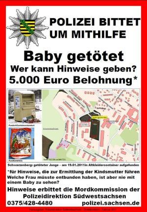 Totes Baby: Mordkommission bittet um Mithilfe – Staatsanwaltschaft setzt 5000 Euro Belohnung aus
