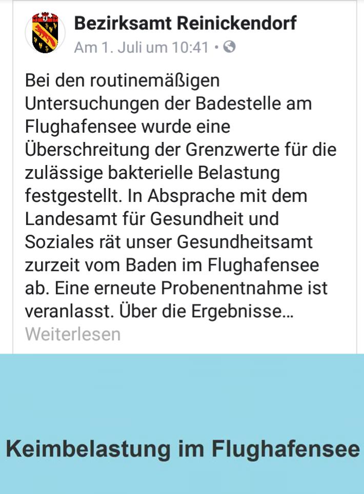 Vom Baden im Flughafensee wird abgeraten